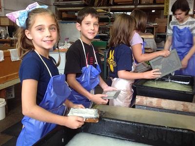 Grade 3 students make paper at the Morgan Conservatory