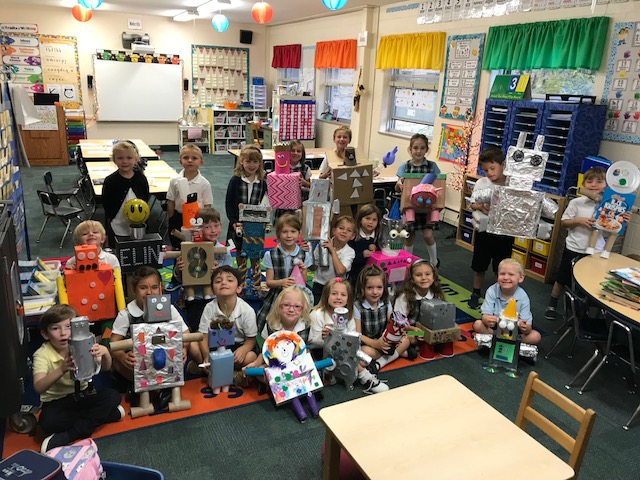 Kindergarten learns about shapes and create robots